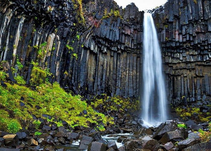 Svartifoss Greeting Card featuring the photograph Svartifoss Waterfall - Iceland by Stuart Litoff