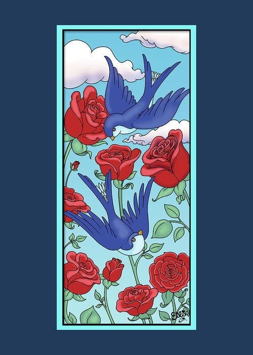 Birds Greeting Card featuring the digital art Swallows And Roses by Eleanor Hofer