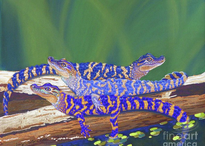 Alligators Greeting Card featuring the pastel Swamp Babies by Tracy L Teeter