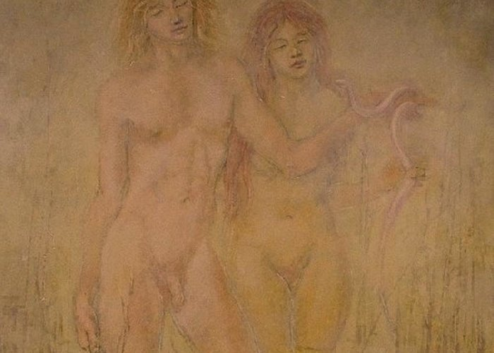 Nude Greeting Card featuring the painting Swamp Boy And Girl by Terrell Gates