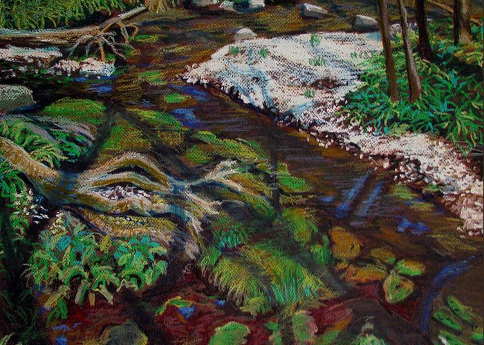 Swamp Greeting Card featuring the painting Swamp Moss Shadows by Art Nomad Sandra Hansen