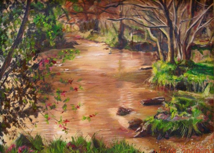Landscape Greeting Card featuring the painting Swamp by Olga Kaczmar