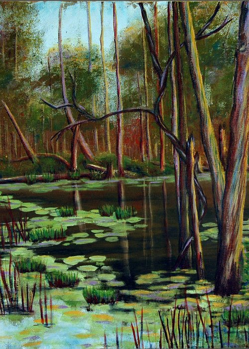 Swamp Greeting Card featuring the painting Swamp Reflections by Art Nomad Sandra Hansen