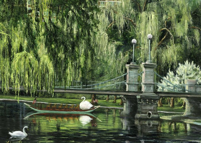 Boston Greeting Card featuring the painting Swan Boats by Lisa Reinhardt
