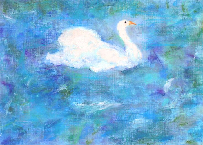 Lake Greeting Card featuring the painting Swan Lake by Michela Akers