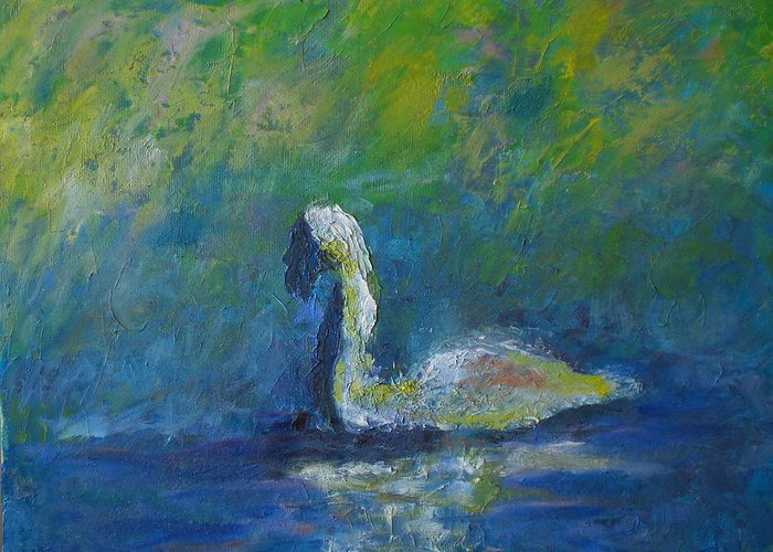 Impressionism Greeting Card featuring the painting Swan by Lou Ewers