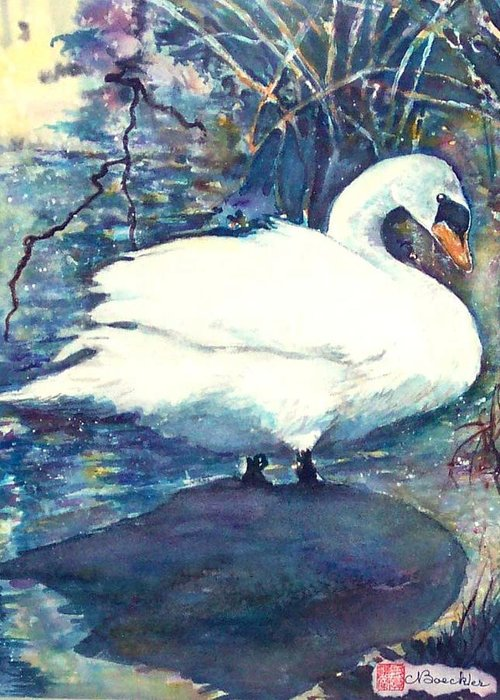 Landscape Greeting Card featuring the painting Swan by Norma Boeckler