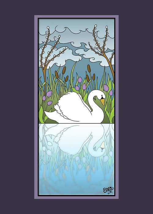 Swan Greeting Card featuring the digital art Swan On The River by Eleanor Hofer