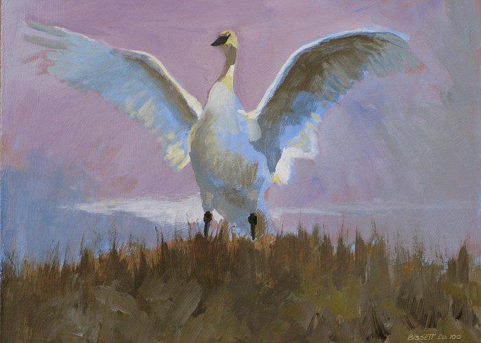 Bird Nature Tonal Purple Swan Lake Mist Greeting Card featuring the painting Swan by Robert Bissett