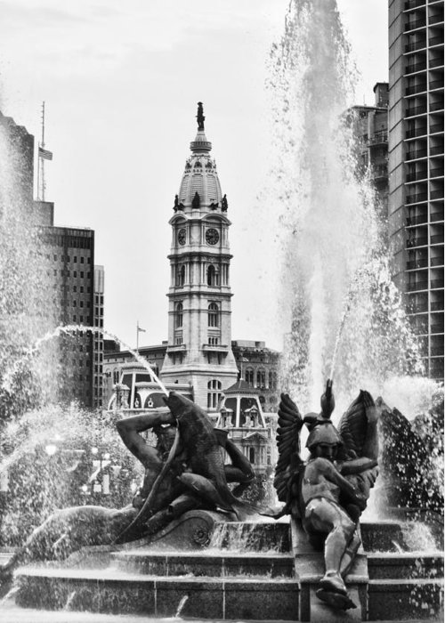 Fountain Greeting Card featuring the photograph Swann Memorial Fountain In Black And White by Bill Cannon