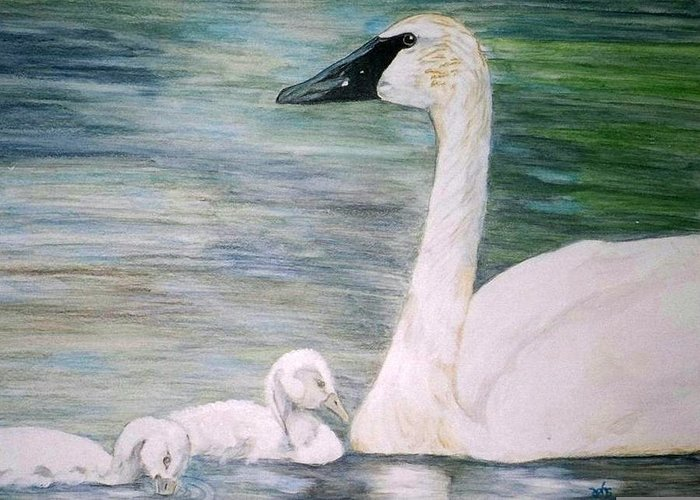 Swan Greeting Card featuring the painting Swans by Debra Sandstrom