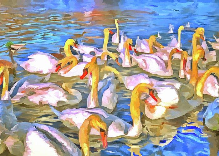 Pop Art Greeting Card featuring the photograph Swans Pop Art by David Pyatt