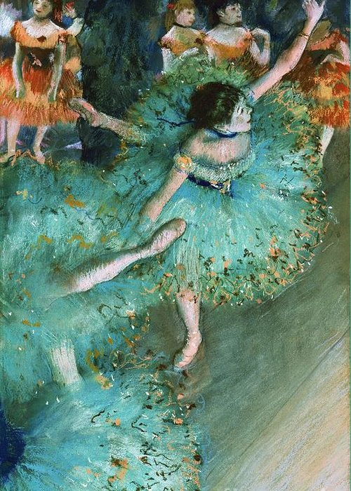 Pd Greeting Card featuring the painting Swaying Dancer In Green by Pg Reproductions
