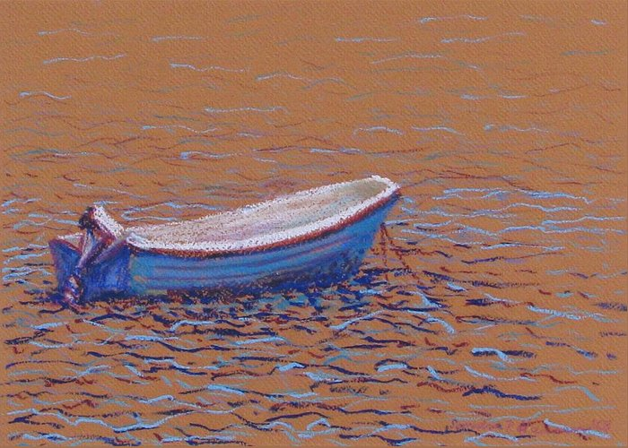 Boat Greeting Card featuring the pastel Swedish Boat by Art Nomad Sandra Hansen