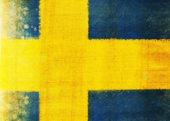 Sweden Greeting Card featuring the painting Swedish Flag by Setsiri Silapasuwanchai