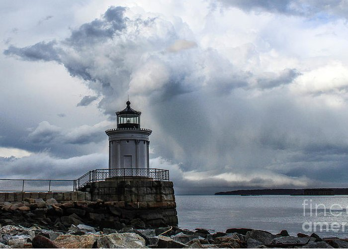Maine Greeting Card featuring the photograph Sweeping Clouds Over Bug Light by Joe Faragalli