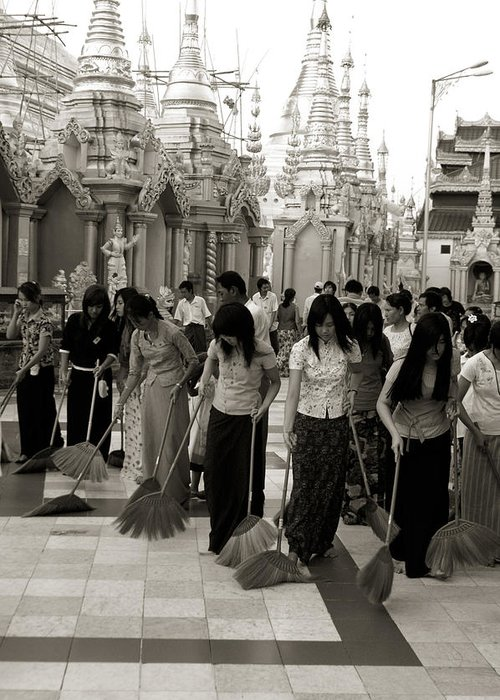 Black And White Greeting Card featuring the photograph Sweeping The Shwedagon Floor by Jessica Rose