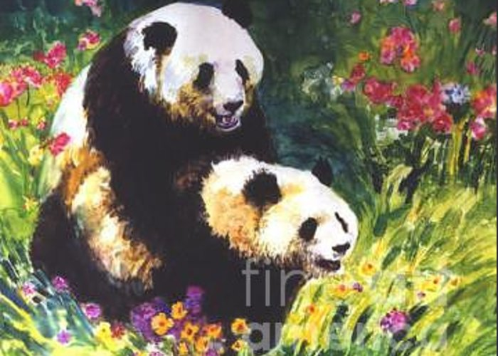 Panda Greeting Card featuring the painting Sweet As Honey by Guanyu Shi
