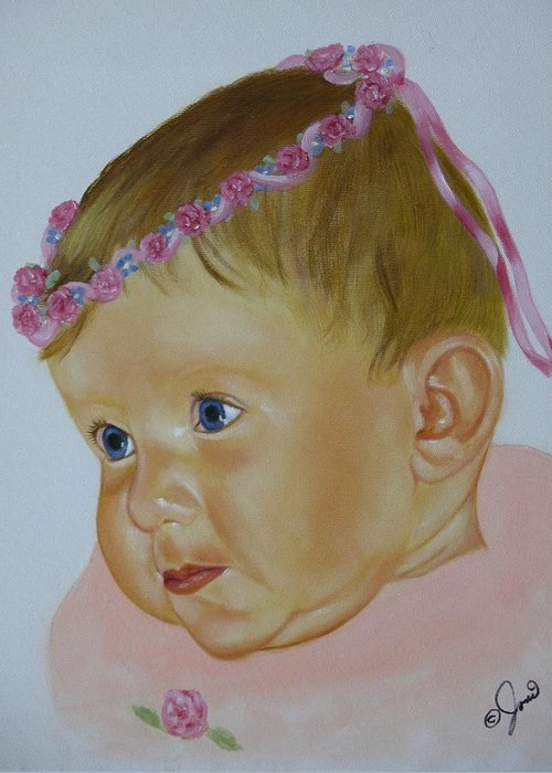 Oil Painting Greeting Card featuring the painting Sweet Child by Joni McPherson