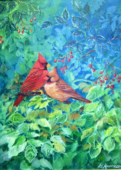 Cardinals;birds;berries; Greeting Card featuring the painting Sweet Contentment by Lois Mountz