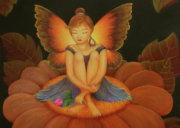 Angel Greeting Card featuring the painting Sweet Dream by Desiree Micaela