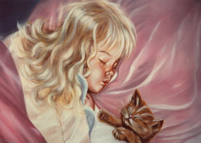 Portrait Greeting Card featuring the painting Sweet Dreams by Joni McPherson