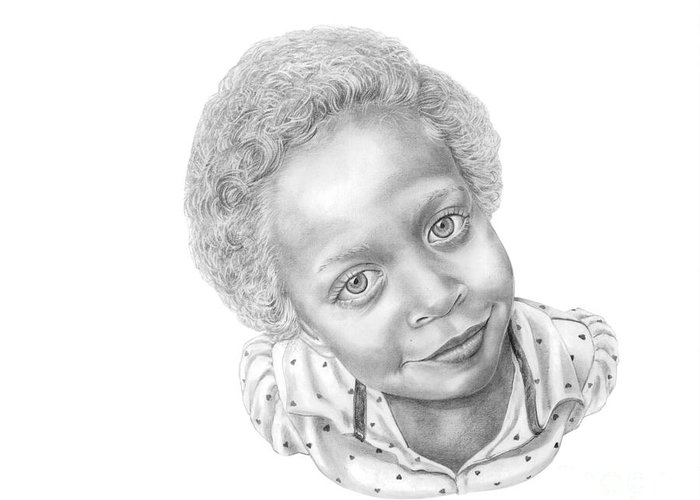 Portrait Greeting Card featuring the drawing Sweet Eyes by Murphy Elliott