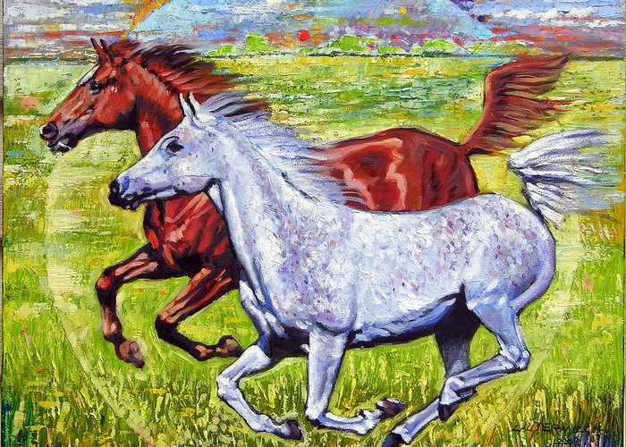 Horses Running Greeting Card featuring the painting Sweet Harmony by John Lautermilch