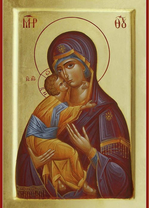 Vladimir Mother Of God Greeting Card featuring the painting Sweet Kissing Mother Of God by Julia Bridget Hayes