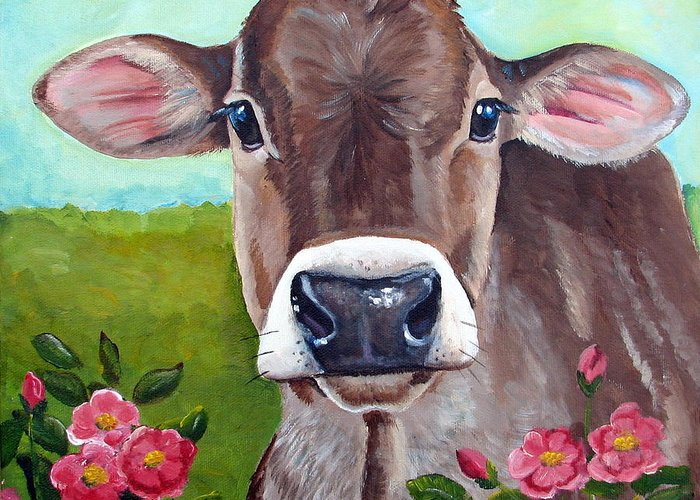 Brown Swiss Greeting Card featuring the painting Sweet Matilda by Laura Carey