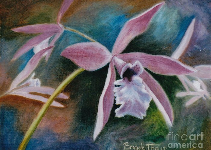 Flower Greeting Card featuring the painting Sweet Orchid by Brenda Thour