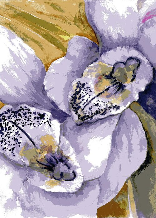 Flower Greeting Card featuring the painting Sweet Orchids by Marilyn Barton