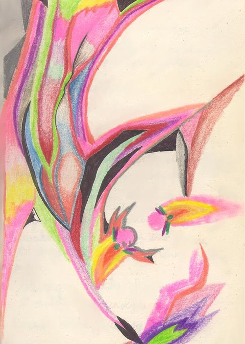 Abstract Greeting Card featuring the drawing Sweet Spring by Peter Shor