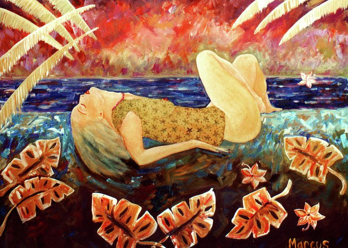 Hawaii Greeting Card featuring the painting Sweet Surrender by Leslie Marcus