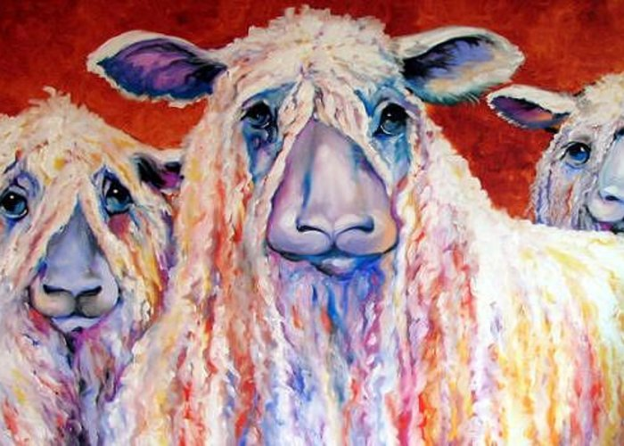 Sheep Greeting Card featuring the painting Sweet Wensleydales Sheep By M Baldwin by Marcia Baldwin