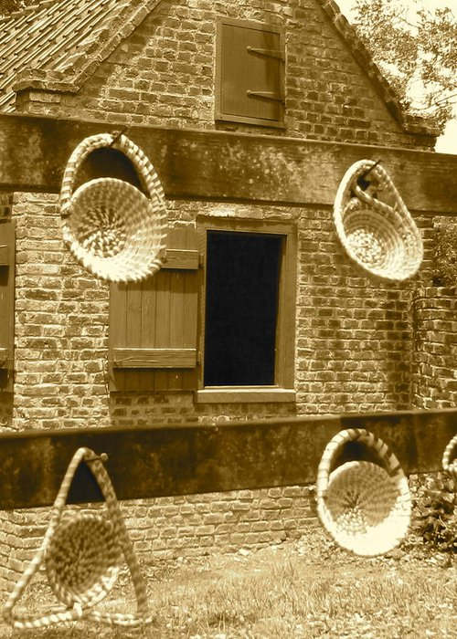South Carolina Greeting Card featuring the photograph Sweetgrass Baskets And Slave Shack by Staci-Jill Burnley