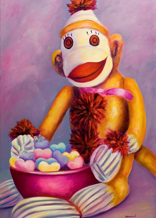 Heart Greeting Card featuring the painting Sweetheart Made Of Sockies by Shannon Grissom
