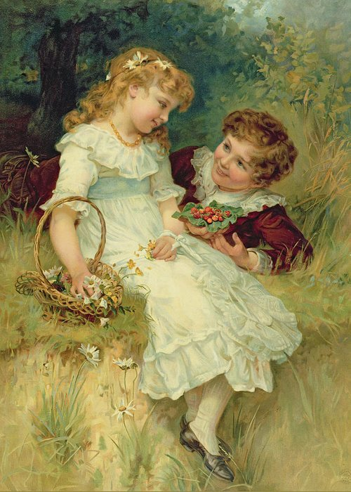 Sweethearts Greeting Card featuring the painting Sweethearts by Frederick Morgan