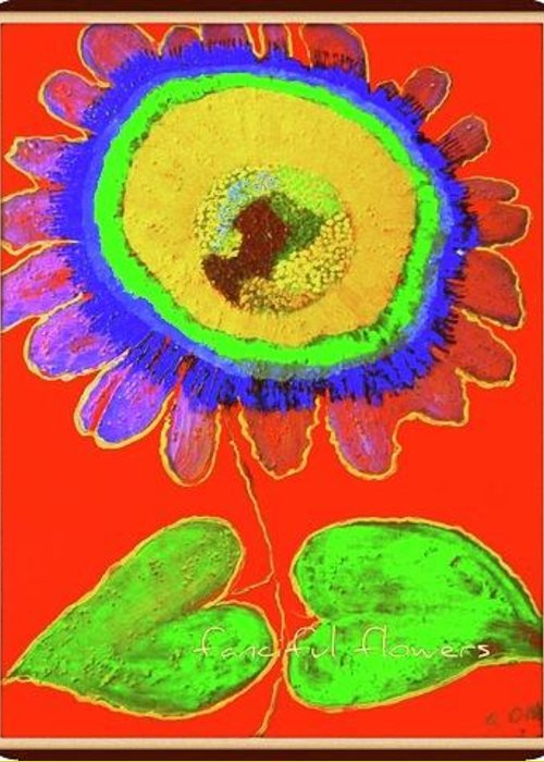 Art Greeting Card featuring the painting A Fanciful Flower by Kathy Othon