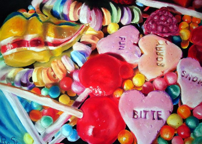 Soft Pastels Greeting Card featuring the painting Sweets For My Sweet by Rose Sciberras