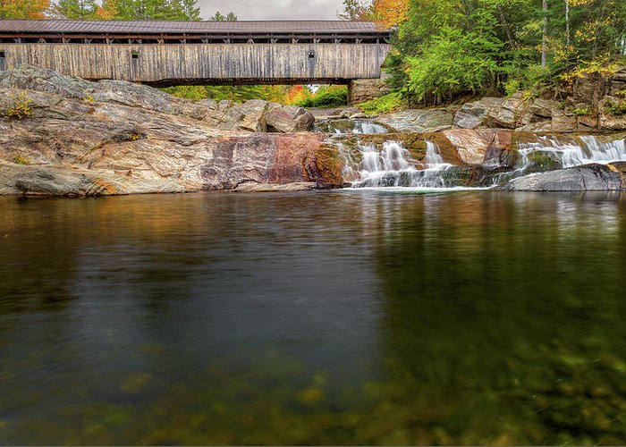 Covered Bridge Greeting Card featuring the photograph Swiftwater Covered Bridge by Bill Wakeley