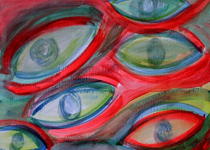 Eyes Greeting Card featuring the painting Swimming eyes by Margie Byrne