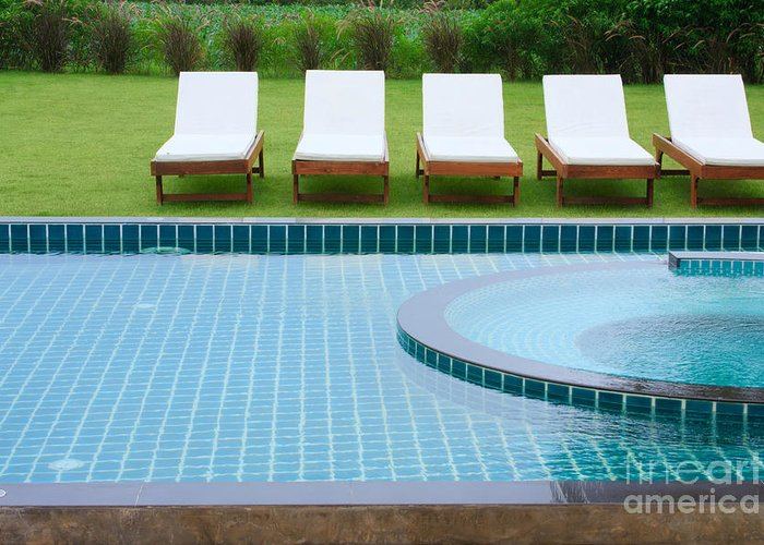 Activity Greeting Card featuring the photograph Swimming Pool And Chairs by Atiketta Sangasaeng