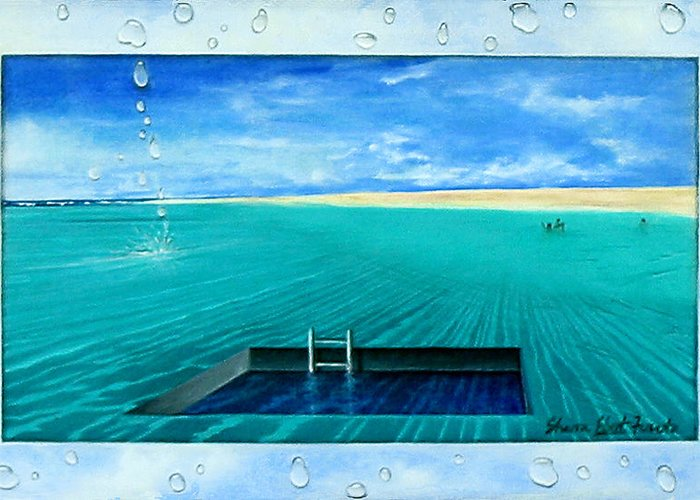 Surreal Painting Greeting Card featuring the painting Swimming Pool by Sharon Ebert