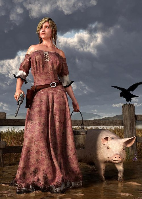Pig Greeting Card featuring the digital art Swineherdess by Daniel Eskridge