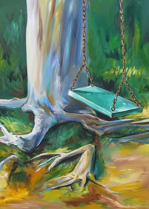 Swing Greeting Card featuring the painting Swing by Karen Doyle