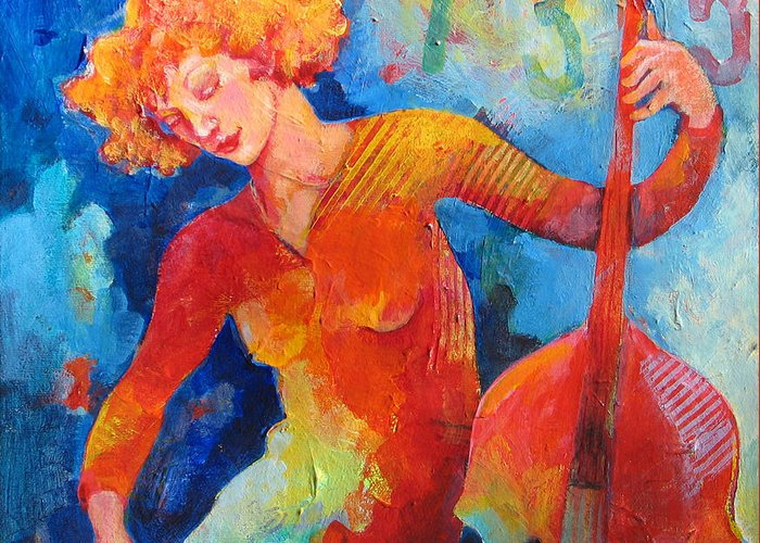 Music Greeting Card featuring the painting Swinging At Club 135 by Susanne Clark