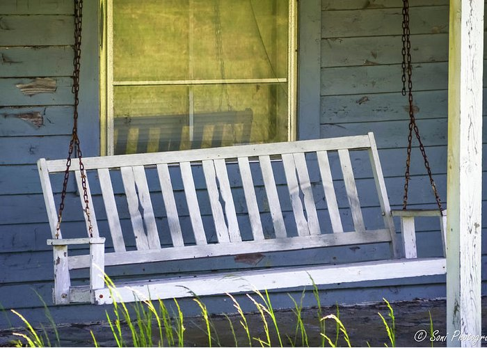 Porch Swing Greeting Card featuring the photograph Swinging At The Cottage by Soni Macy