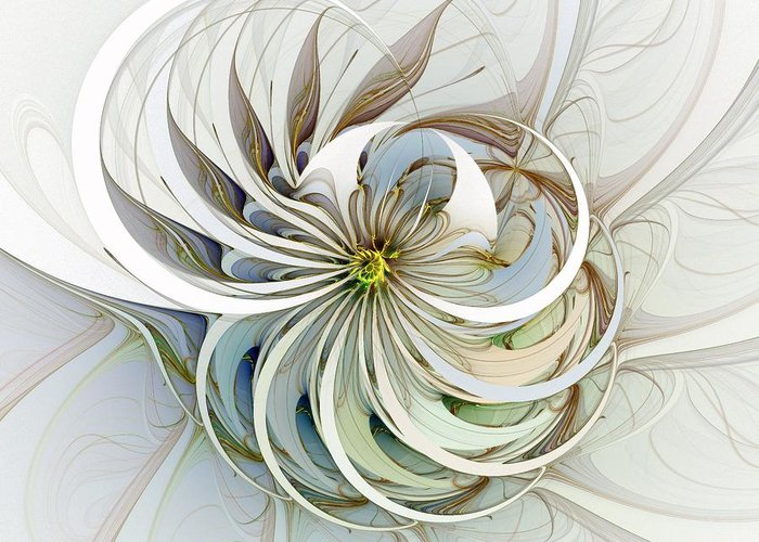 Digital Art Greeting Card featuring the digital art Swirling Petals by Amanda Moore