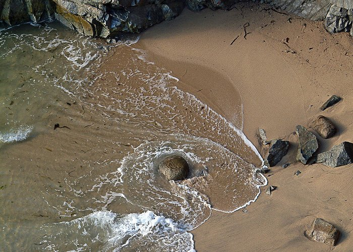Big Sur Greeting Card featuring the photograph Swirling Surf And Rocks by Charlene Mitchell